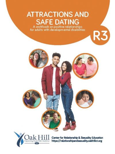 Attractions and Safe Dating Workbook Cover, orange bubbles with white text, pairs of people talking to each other