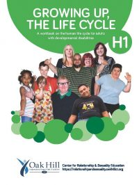 Growing Up, The Life Cycle Workbook Cover, green circles and white text, kids and adults of all ages