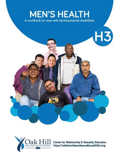 Men's Health Workbook Cover, blue circles and white text, boys and men of all ages