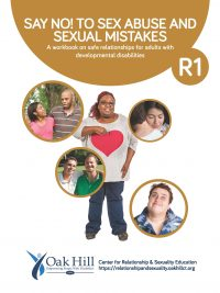 Say No! Workbook Cover, dark yellow bubbles white text, individual and groups of people smiling